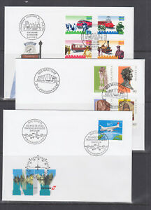 Switzerland-Mi-1601-1624-1997-issues-7-complete-sets-on-7-official-FDCs