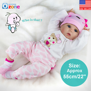 22/'/' Handmade Lifelike Newborn Silicone Vinyl Reborn Baby Doll Soft Body Gifts