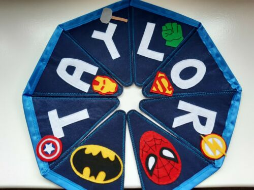 £ per flag Handmade Superhero Personalised Fabric Bunting Party Marvel Avengers
