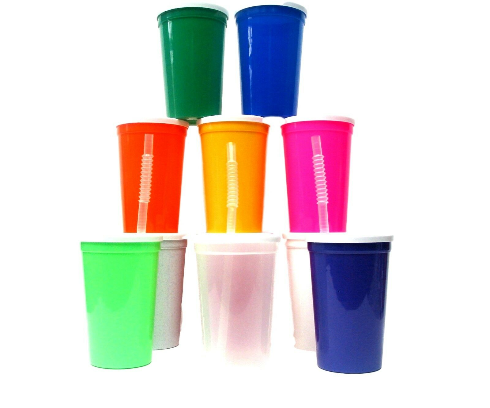 100- Large 20 Ounce Plastic Drinking Glasses Lids Straws Mix of colors Mfg USA