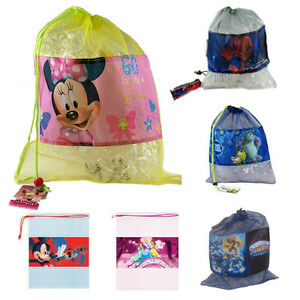 DISNEY-MESH-BAG-DRAW-STRING-PULL-STRING-SCHOOL-BAG-GYM-SACK-GYM-SAC-SWIMMING-KIT