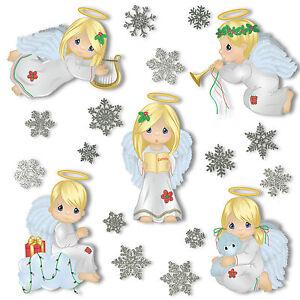 NATALE-ANGELO-finestra-si-aggrappa-28-glitter-fiocchi-di-neve-adesivi-decorazioni-statico
