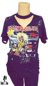 Iron-Maiden-KILLERS-T-Shirt-Womens-Distressed-Oversided-Ripped-T-Shirt-Dress