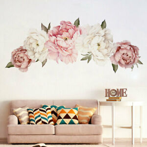 Peony-Pink-Rose-Flower-Blossom-Wall-Stickers-Decal-Home-Bedroom-Mural-Decor-Art