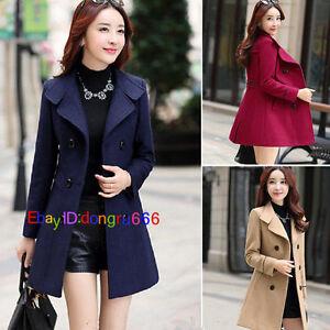 Women's Double Breasted Wool Trench Coat Slim Long Jacket Warm Overcoat Outwear