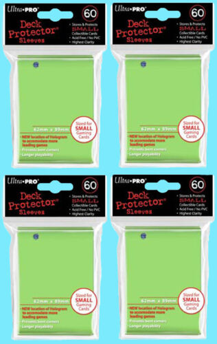 240 Ultra Pro DECK PROTECTOR Card Sleeves LIME GREEN YuGiOh 4 Packs Small Size