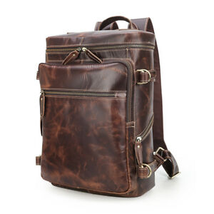 Coffee-Men-039-s-Leather-15-6-Laptop-Backpack-Travel-Outdoor-Camping-Tote-Schoolbag