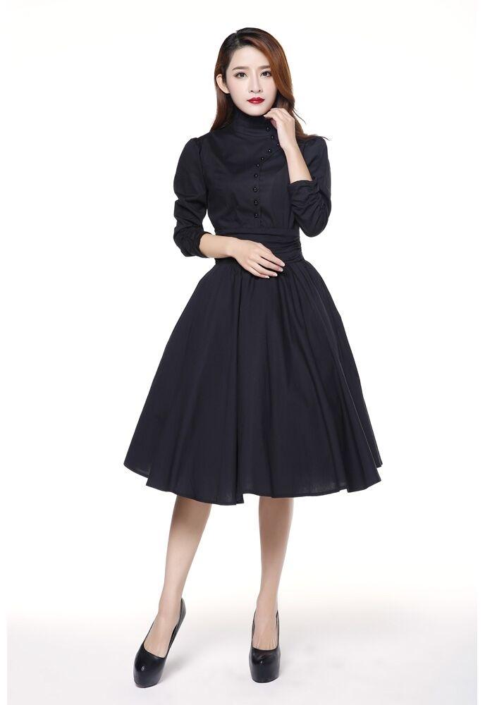 ANT 70500 Damen Kleid Vintage Millitary Lolita Rockabilly Retro schwarz 48