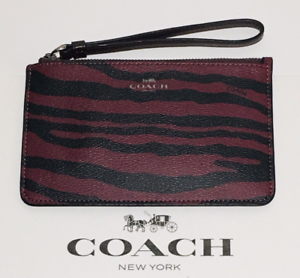 Coach-F39094-Dark-Red-Tiger-Stripe-Small-Wristlet