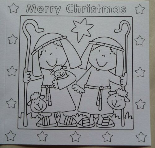 Pack 4 Christmas cards to colour in different scenes from the Nativity