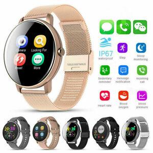 Smartwatch Uhr IP68 Wasserdicht IPS Sport Fitness Smartband Tracker iOS