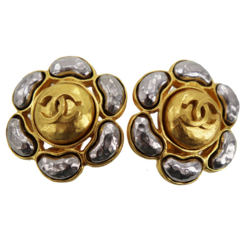 CHANEL CC Logos Earrings Gold Silver Clip-On 97 A