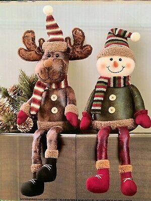 Jolly Snowmen Shelf Sitters Set of 2 Christmas Mantel Decorations 7XM386