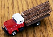 N Classic Metal Works-RED & WHITE UNDEC 6 Wheel Flat Bed Truck 6 Piece Log Load