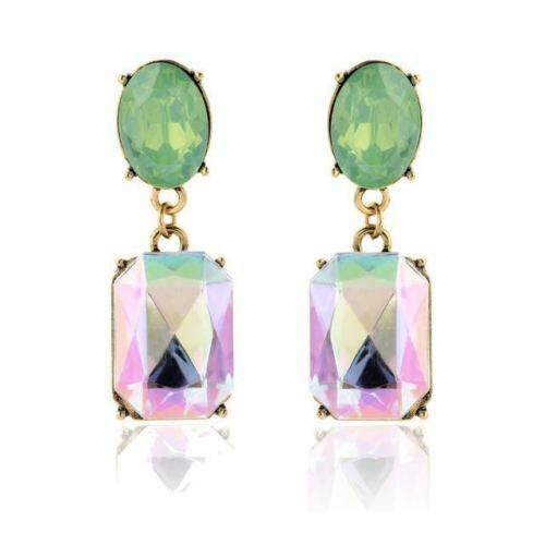 Vintage Inspired Luxury Green Rainbow Crystal Dangle Statement Earrings