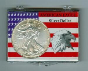 U.S. 1996 $1 SILVER EAGLE 1 OZ. FINE SILVER BU LIGHTLY TONED IN HOLDER KEY DATE