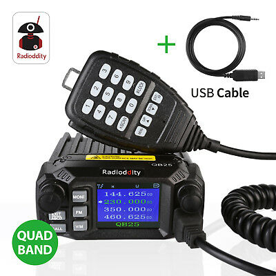 Radioddity DB25 Pro 25W Mobile Car Radio Transceiver V//UHF Quad Band Antenna US