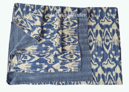 Twin Size Ikat Print Indian Cotton Ethnic Bedspread Kantha Quilt Vintage Blanket