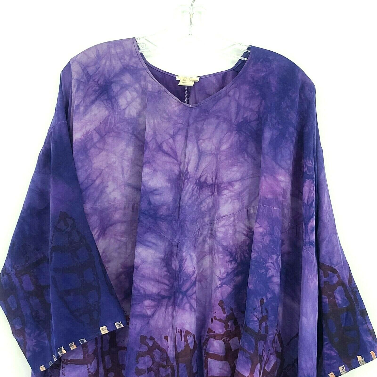 Laise Adzer womens Vintage 1980's Hand Painted Si… - image 3