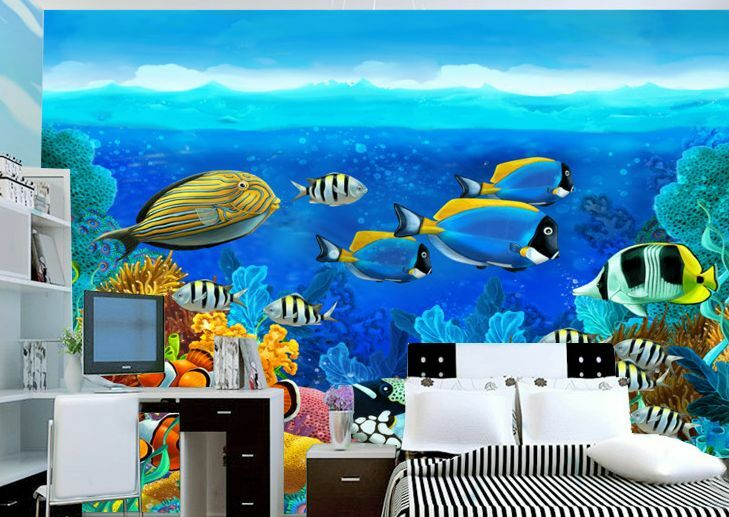 Huge 3D Seabed Fish Wall Paper Wall Print Decal Wall Deco Indoor wall Murals