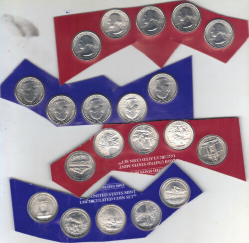 Mint Sealed BU Satin Finish 2 SETS 2010 P+D State Park Quarters 20-Coins