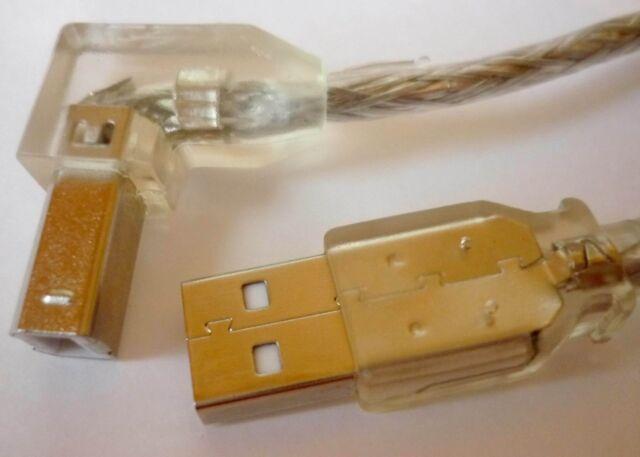 USB 2.0 Kabel Druckerkabel ab gewinkelt abgewinkelt 1m transp. Anschlusskabel