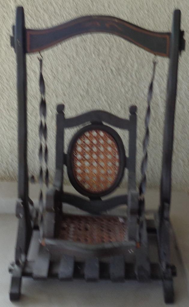 Antigua Muñeca Swing-todos los Construcción De Madera Con Asiento De Caña De Soporte De Hierro Forjado