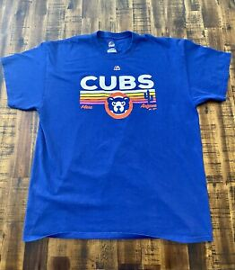 Majestic-Chicago-Cubs-Spring-Training-Mesa-AZ-Tee-Shirt-Mens-Size-XL-Blue
