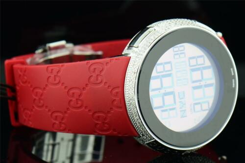 5581aaa7e4a 3 of 11 Mens Custom Full Case Digital Red I-Gucci YA114212 Genuine Diamond  Watch 2.50 CT