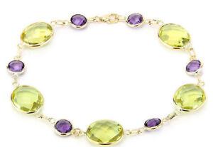 14K-Yellow-Gold-Fancy-Cut-Amethyst-and-Lemon-Topaz-Gemstone-Bracelet-7-5-Inches