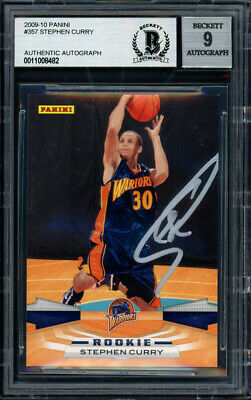 Stephen Curry Autographed 2009 10 Panini Rookie Card Mint 9 Beckett 11008482 Ebay