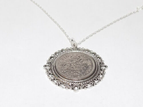 60th Birthday 1961 Lucky Sixpence Fancy Pendant plus Sterling Silver 18in Chain