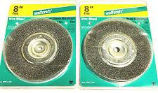"2 Wolfcraft 8"" Crimped Wire Wheel Abrasive Brush Bench Grinder 1414"