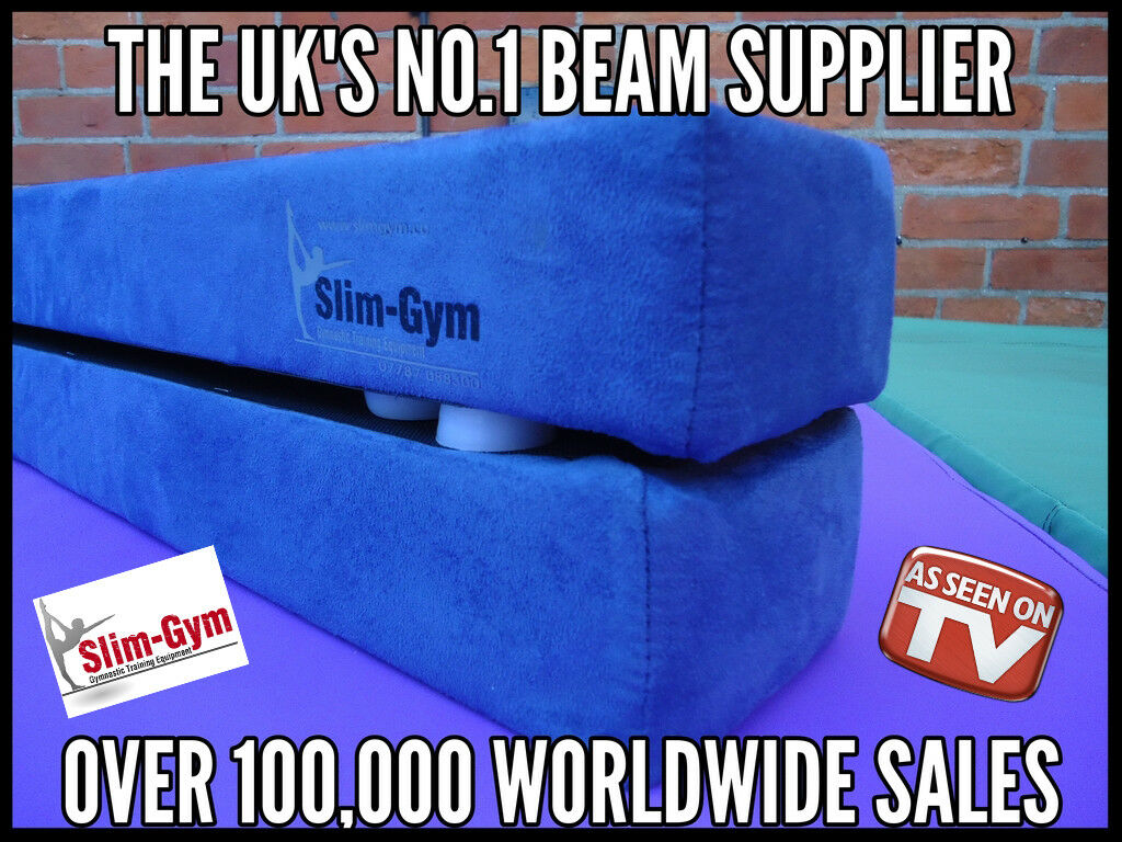 7FT (2.1 MTR) GYMNASTIC FOLDING BALANCE BEAM BY SLIM-GYM 'NEW blueE' FAUX SUEDE