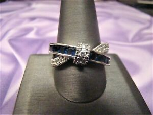 Sapphire Blue CZ Crossover Ring .925 Sterling Silver Size 11.75  11 3/4