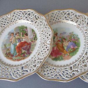 Set 4 Vintage DRESDEN Schumann Reticulated Porcelain Plates MAIDENS Garden ROSES
