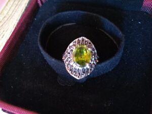 Bague en verre couleur lagon taille 53 bijou fantaisie argent cadeau lampwork