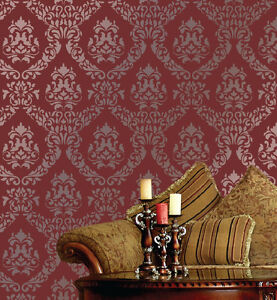 LARGE-WALL-DAMASK-MYLAR-STENCIL-PATTERN-FAUX-MURAL-DECOR-1056-Choose-Size