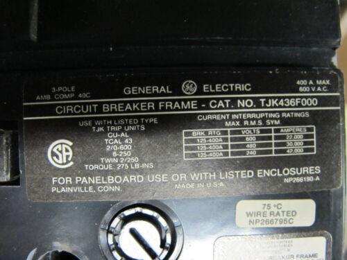 600 Volt 350 Amp Trip GE TJK436F000 3 Pole Circuit Breaker- WARRANTY BLACK