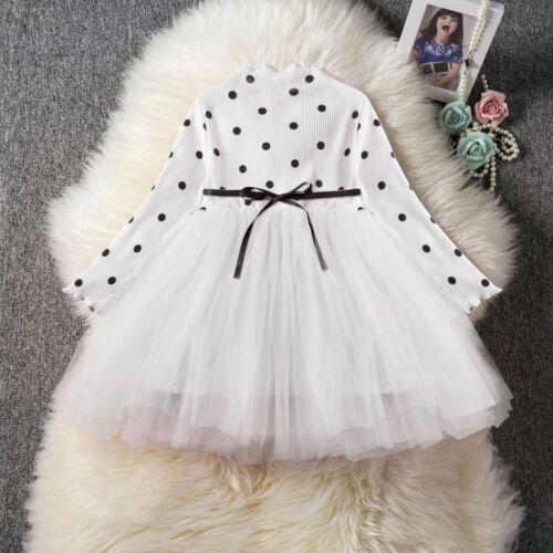 Toddler Kids Baby Girls Cute Long Sleeve Dress Princess Party  Tutu Dress ZG9