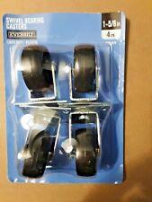 Everbilt 4 Pk 1 58 Black Plastic Swivel Bearing Plate Casters 50lb Cap