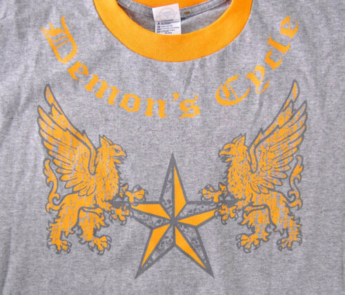 T-SHIRT DEMON/'S CYCLE LOGO GRIFFINS GHOST SKULL FRONT BACK PRINT GRAY YELLOW XXL