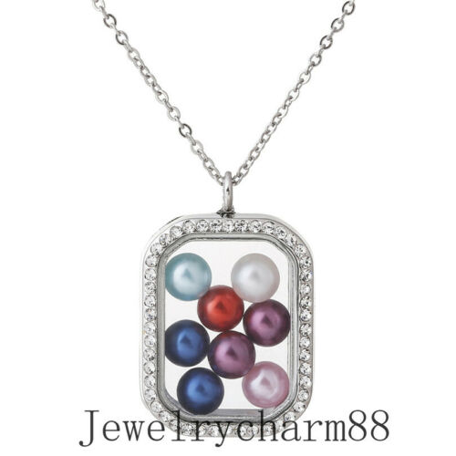 50 Styles Owl Cross Cat Glass Floating Locket Beads Cage Necklace For Mom Gift