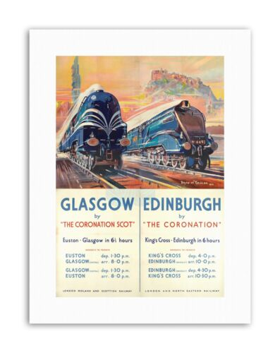RAIL TRAIN GLASGOW EDINBURGH SCOTLAND CASTLE Poster Travel Sport Canvas art