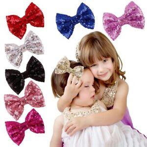 Baby-Infant-Kids-Girl-Sequin-Bowknot-Bow-Hair-Clip-Hair-Bow-Clips-Hair-Pins