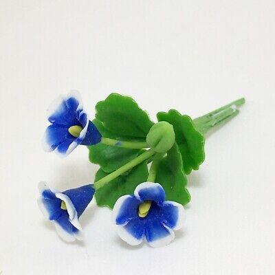 Sky Blue Iris Plant Dollhouse Miniature Flower Handmade Clay Garden Accessory