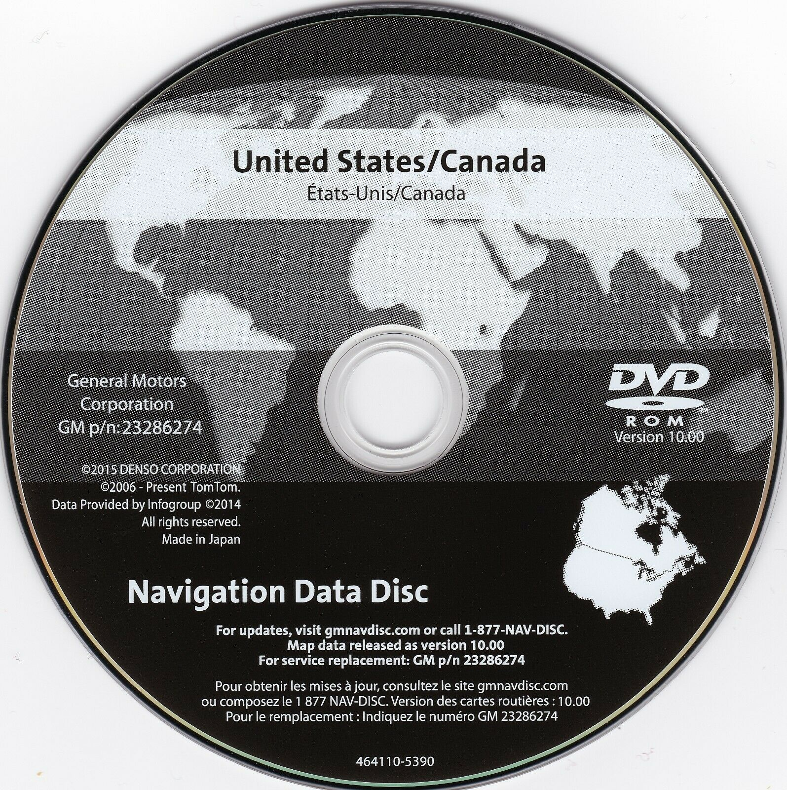 2005-2012 Chevrolet Corvette Navigation DVD Map Update 10 0 GM 23286274 GPS