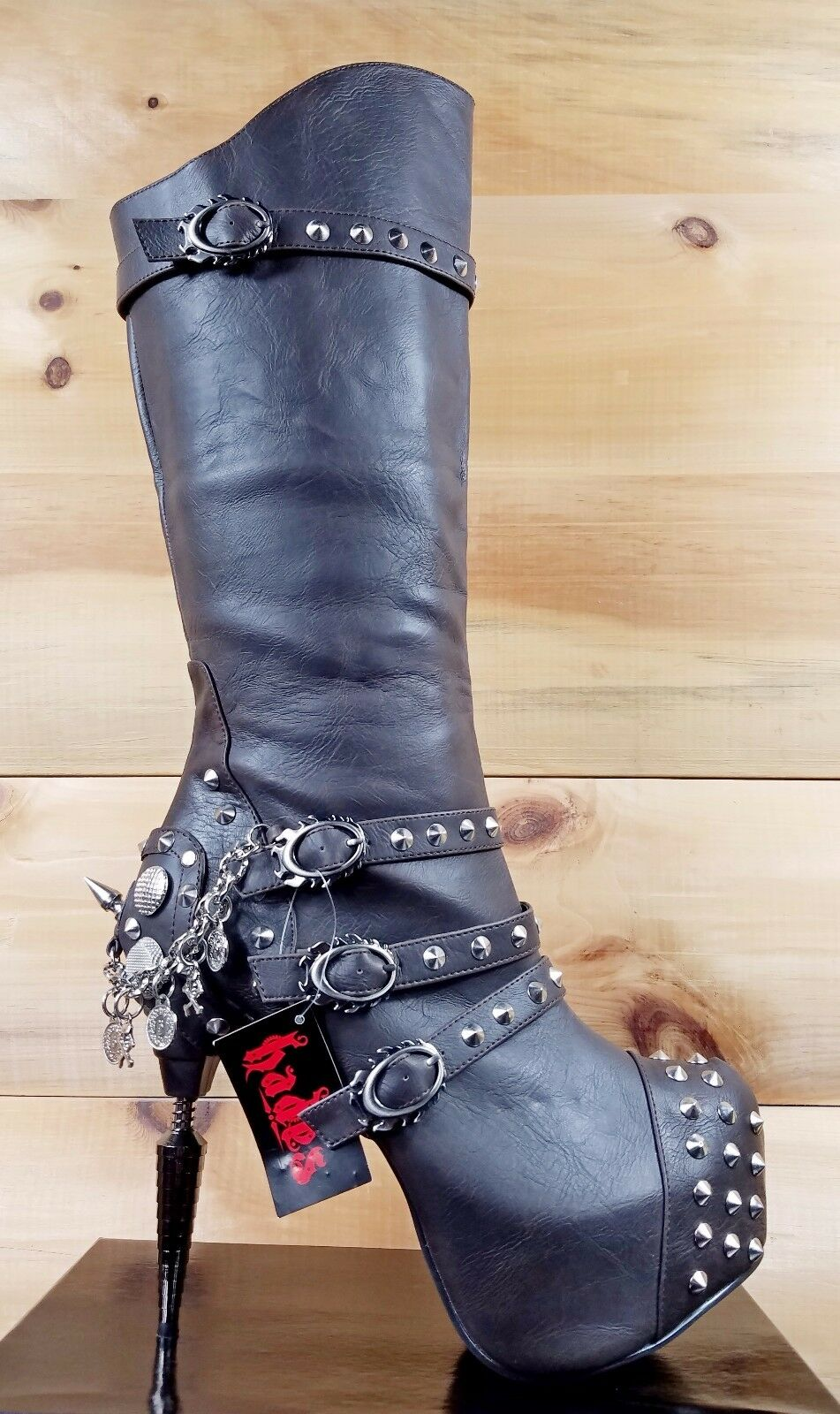 Hades Valda Buckle Chain Charm Spiked Platform Knee Boot Sexy Biker Black Brown