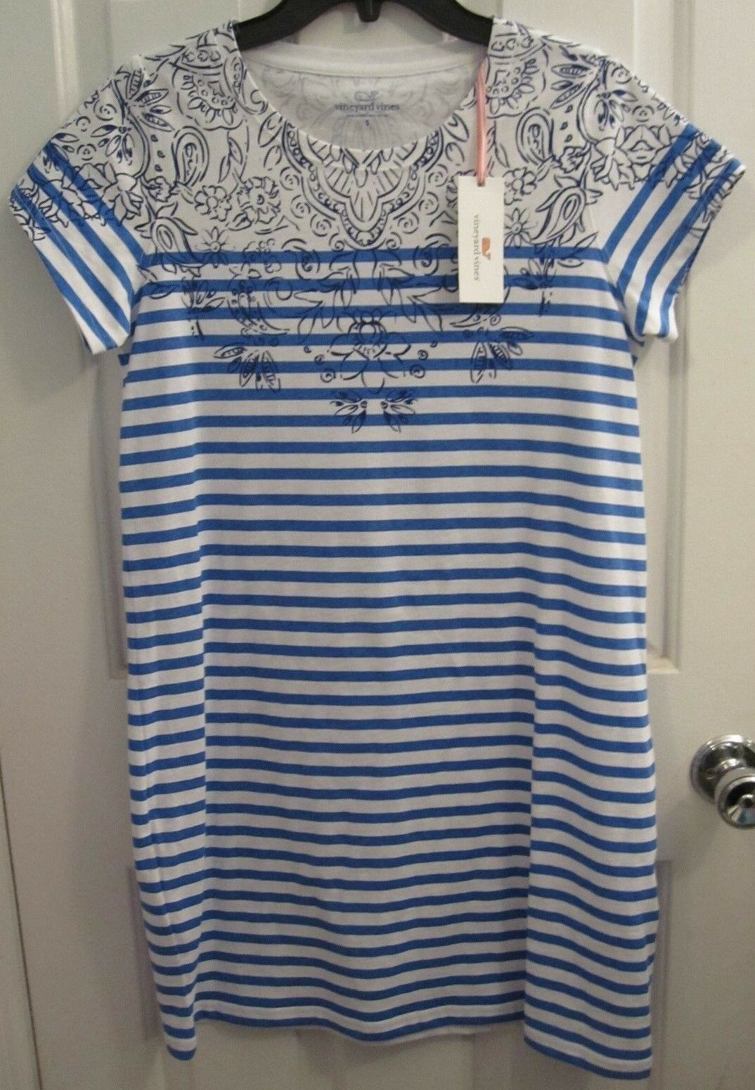 Vineyard Vines Women's S S Tee Dress in Striped Scarf Tide bluee -Size S -NWT