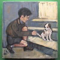 Superb Figurative Study Original Oil Painting by Jane Murray : His Masters Voice